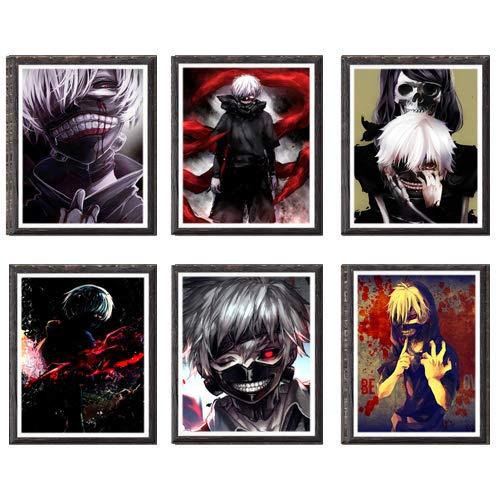 Manga Anime Art Prints Tokyo Ghoul Blood Ken Kaneki Stampa artistica su tela, 20 x 25 cm, senza cornice, set di 6 pezzi