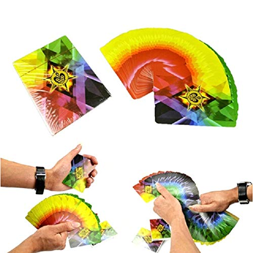 Kingmagic THIN FANNING MANIPULATION 4 WAY CHANGING COLOUR FAN CARDS DECK STAGE MAGIC TRICK