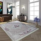 Paco Home Alfombra Moderna con Estampado Vintage Diseño De Moda En Rosa Y Crema, tamaño:160x230 cm