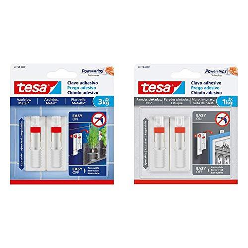 Tesa 77764-00001-00 Clavo Adhesivo Ajustable Para Azulejos y Metal 3 Kg, Blanco, Set de 2 Piezas + Clavo Adhesivo Ajustable, Ideal Para Cuadros, Para Paredes Pintadas y Yeso (1 Kg)