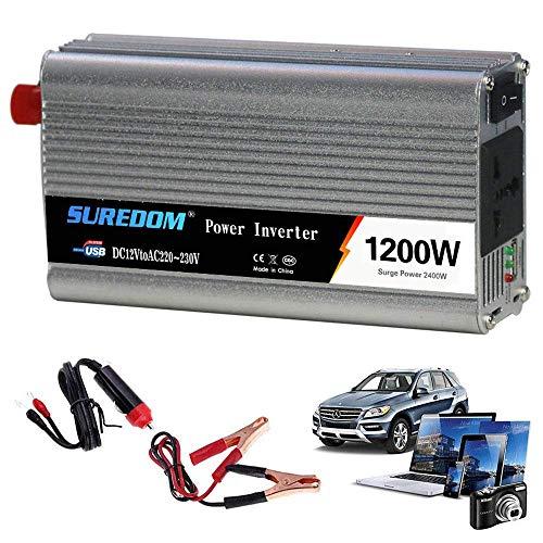 J-Love Inversor de energía de Onda sinusoidal Pura 1200W DC 12V/24V a AC 110V/220V/230V/240V Convertidor, con Interruptor controlable y Puerto USB, Incluye Clip para batería de automóvil