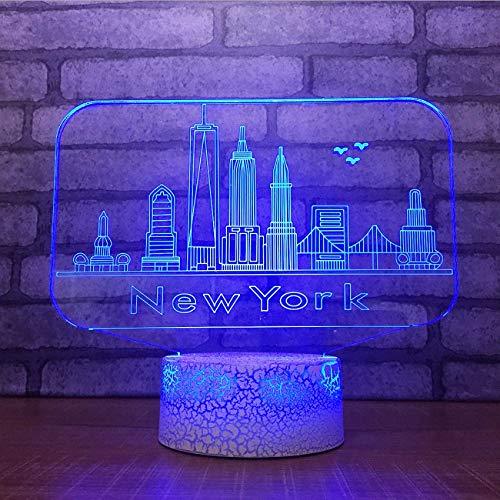 ganjue 3D USB 7 Changement de Couleur Tactile Bouton Lampe De Table De Bureau New York City Bâtiments Modélisation Led Ambiance Nuit Lumière Cadeaux