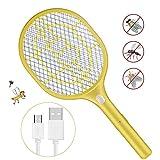 Anpro Raqueta Matamoscas Electrica,Mata Mosquitos Recargable,Raqueta Amarillo Antimosquitos con Luz,Carga USB