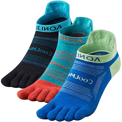 OrrinSports 3 pares de calcetines deportivos para mujer y hombre, calcetines de cinco dedos, 02C# corte bajo/3 pares – Grande (8 – 10.5), L