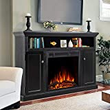 JAMFLY Electric Fireplace TV Stand Wood Mantel for TV Up to 55', Media Entertainment Center Fireplace Console Cabinet w/Storage Bin, Remote Control, 750W-1500W, Black