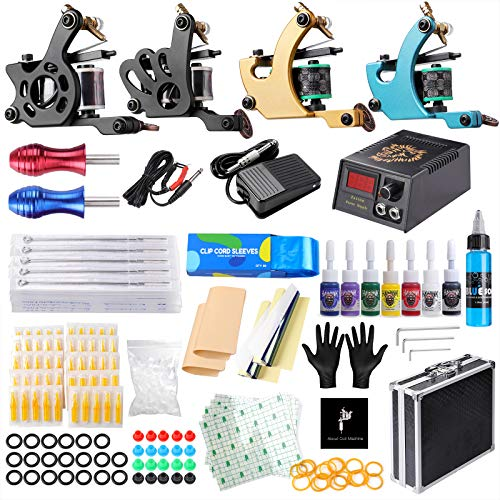 HAWINK Tattoo Complete Tattoo Kit 4 Pro Machine Guns 7 Inks Power Supply Foot Pedal Needles Grips Tips Carry Case TK-HW4001