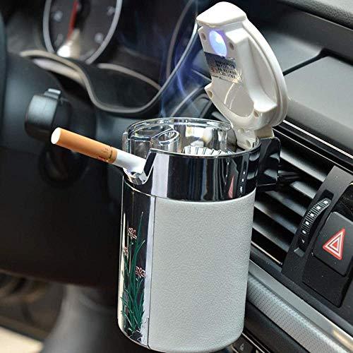 Cenicero de coche Cenicero de luz LED portátil Cenicerouniversal Cenicero defibra de carbono para coche |Cenicero
