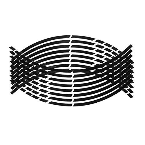 16 PCS Etiqueta Reflectante en la Cinta de la calcomanía de la Raya de la Rueda Fluorescente del Cubo de la Rueda para el automóvil 18 Pulgadas Rueda F-Mejor Pegatinas para Moto (Color Name : Black)