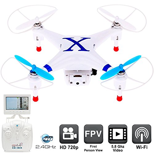 Drone with Camera CX-30S First Person View Monitor - RC Drones FPV Quadcopter Helicopter for Sale - Flying with Live Video Feed 5.8Ghz, Easy Control 6 Axis Gyroscope [USA Warranty 100% Guaranteed]