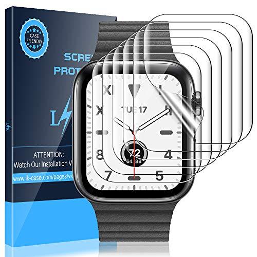 LK 6 Stück Schutzfolie für Apple Watch Series 5/4 44mm und Series 3/2/1 42mm Folie, [Kompatibel mit Hülle] [Blasenfreie] Klar HD Weich TPU Displayschutz