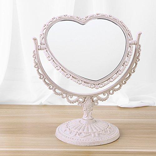 Frcolor Klassischer einfacher Kosmetikspiegel, 8-Zoll-Tabletop Zweiseitiger Dreh-Kosmetikspiegel mit Vergrößerung (Herzform, Beige)