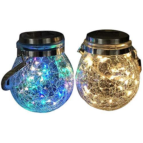 Baalaa Luces solares de cristal de hada, impermeables, para colgar grietas, para jardín al aire libre, Navidad, fiesta, decoración de boda, paquete de 2