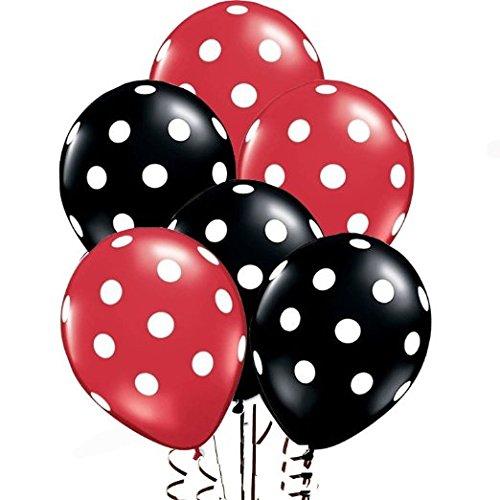 AnnoDeel Globos de ltex de 30,48 cm, globos negros y rojos de lunares para decoracin de globos de boda