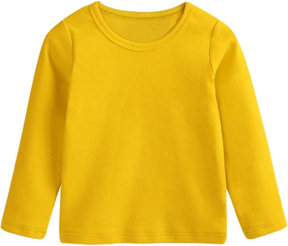 Toddler Baby Boy Girl Basic Solid Plain Organic Cotton T Shirts Tops Long Sleeve Tee Shirt Girls Clothes