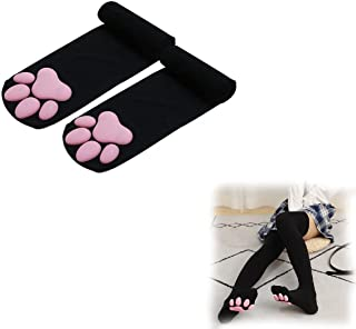 Hengyuan 3D Cat Paw High Socks Sexy Cute Thigh Stockings with Non-Slip Toes for Women Kawaii Cosplay (Black)