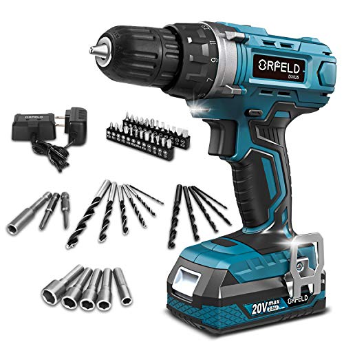 ORFELD Cordless Drill, 20V Drill Driver with 2.0Ah Battery, Built-in LED, 2 Variable Speed, 270 In-lbs Torque, 20 Clutch, 3/8'' Metal Keyless Chuck, 43 pcs Accessories, Blue