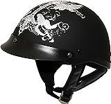 HCI Black/White Iron Wings Motorcycle Half Helmet with Visor - 100-138 (2XL)