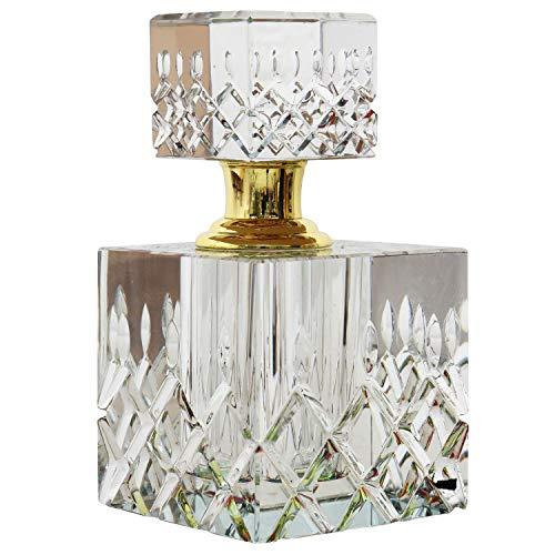 Geschliffener Glas Flakon im Antik-Stil Parfum Kristallglas Flacon 11cm (a)
