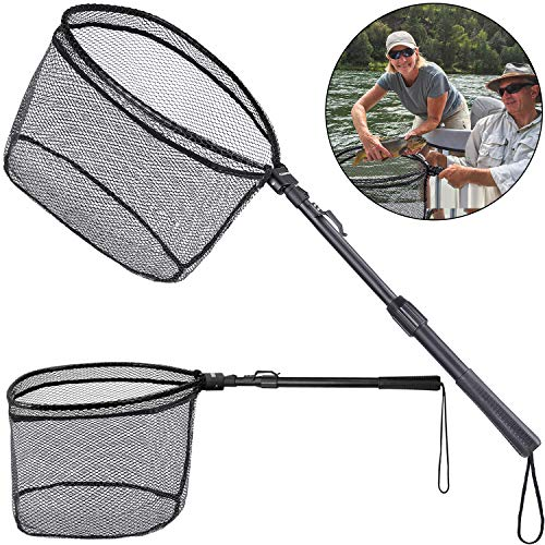 ODDSPRO Fishing Net Fish Landing Net, Foldable Collapsible Telescopic Pole Handle, Durable Nylon Material Mesh, Safe Fish Catching or Releasing (31.5'' Extended Length)