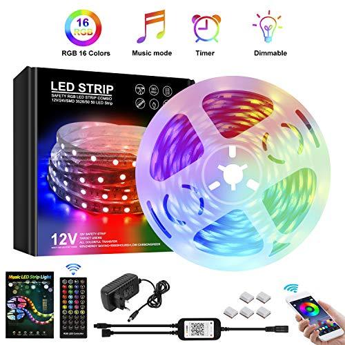 Kefflum LED Strip mit Phone APP-Steuerung, LED Streifen Farbwechsel Led Lichterkette 5M RGB Flexible LED Bänder Strips mit Bluetooth Kontroller Sync zur Musik, 7 Szenenmodi für Zuhause, Küche, Party.