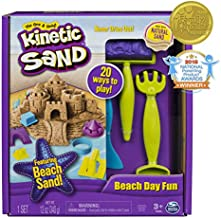 The One and Only Kinetic Sand, Beach Day Fun Playset with Castle Molds, Tools, and 12 oz. of Kinetic Sand for Ages 3 and Up - 6037423,Multicolor