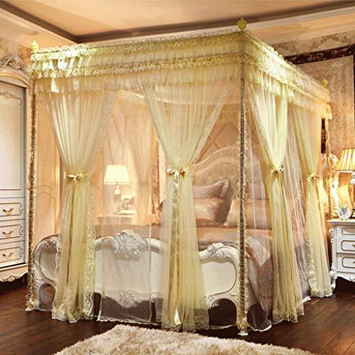 Chenweiweiwei Muggennet met 4 hoeken, geen gaten, vierkant, bovenste etage-type, multifunctioneel design, prinsessenstijl, bedhemelgordijn, bedframe, gordijnen, roestvrijstalen buis, ondersteuning