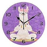 Dozili Yoga Llama Animal Alpaca - Reloj de pared redondo de madera con números arábigos, diseño de alpaca
