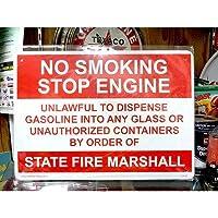 プラスチック看板 『NO SMOKING STOP ENGINE/火気厳禁』 CA-36 ガレージ雑貨 アメリカ雑貨 アメリカン雑貨
