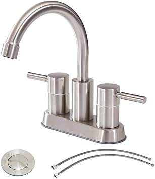 Commercial Double Handle Brushed Nickel Bathroom Faucet Stainless Steel Bathroom Sink Faucet Lavatory Faucets With Pop Up Drain And Hot Cold Water Hose Amazon Com