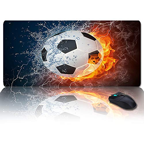 Large Size Gaming Mouse Pad Flame Football Sport Soccer 3D Printing Computer Game Mouse Mat Optimized for Gaming Sensors