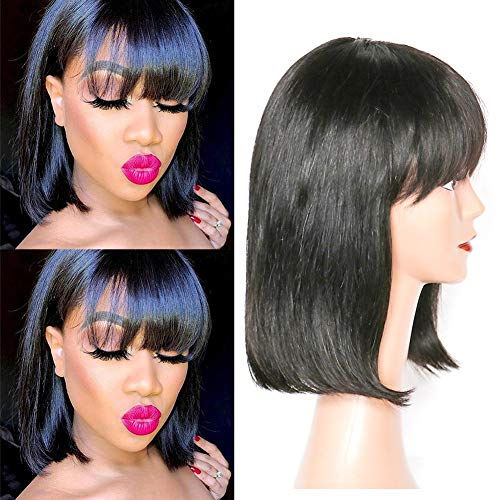 "12"" Short Bob Perücken Brazilian Straight Human Hair Wigs With Bangs 100% Virgin Echthaar Perücken 150% Density None Lace Front Wigs Echthaar Extensions For black Women"