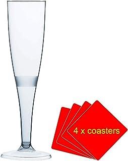 30 x una sola pieza de alta calidad de champán/cristal - 160 ml (6 oz). Ideal para picnics, acampada o glamping, festivales, al aire libre de billar, barbacoa, diseño de flores y cualquier otra ocasión. Para ofrecer de 30 copas con 4 x AIOS bebidas we R sports en caja de madera.