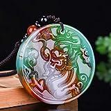 WOkismx Color Natural Collar De Jade Sangre De Pollo Jade Flor Flotante Dragón Tarjeta Colgante Ágata Afortunado Ronda Clavícula Cadena Joyería Diosa Regalo