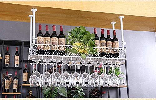 GAXQFEI Cocina Copa de Vino Alenamiento Estante de Vino Talleres de Vino Tenedor de Copa de Vino Techo Techo Vino Tetera Tetera Rack Vintage Botella de Vino Soporte de la Botella de Vino Rústico Mue