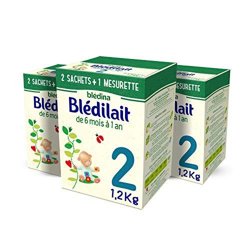 Blédina Blédilait 2ème âge - Lait pour Nourrissons en poudre, dès les 6 mois et jusqu'aux 12 mois de bébé - Pack de 3 Boîtes de 1,2 Kg