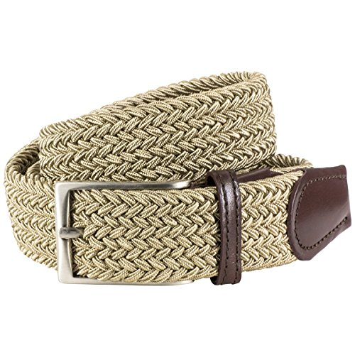 Lindenmann Mens Braided Textile belt/Mens Belt, textile and leather, beige, Größe/Size:100
