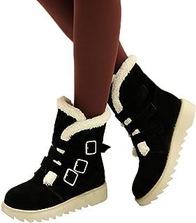 [スノーブーツ] レディース wileqep 春秋冬 ショートブーツ ムートンブーツ ブーツ マーチンブーツ ジッパー レースアップ 大きいサイズ 歩きやすい プラッシュ 美脚 コスプレ 痛くない 靴 防滑 防寒 雪 靴 滑らない 歩きやすい 学生 通勤