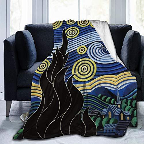 Manta cálida para silla de viaje de noche estrellada, ultra suave, de microforro polar, para mujeres y hombres, regalo de 80 x 60 pulgadas