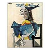 Cuadros famosa de Pablo Picasso 'Mujer con sombrero de pez' Impresión en lienzo, arte abstracto de la pared para la sala de estar Imagen de decoración del hogar 80x112cm sin marco