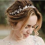 Catery Leaf Bride Wedding Headband Silver Crystal Pearl Hair Vine Braid Headpiece Bridal Hair Accessories for Women and Girls