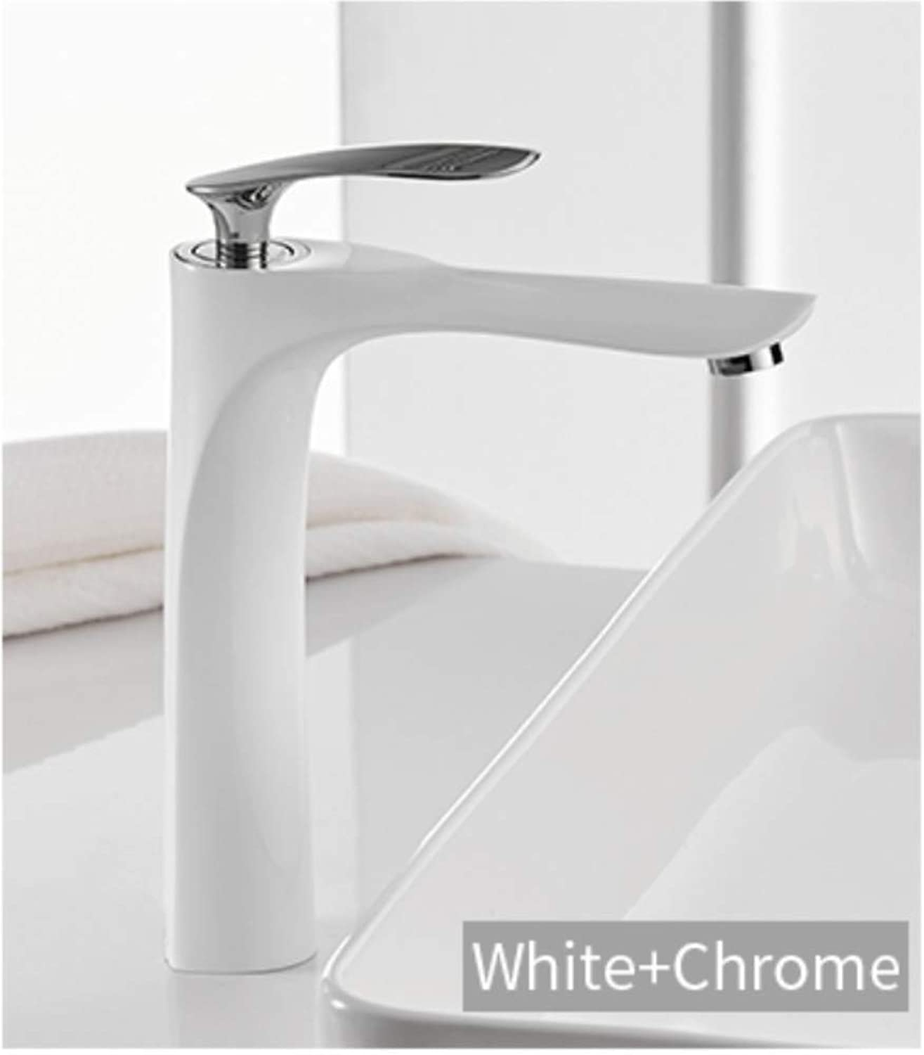 Faucet Bathroom Basin Faucets White color Basin Mixer Tap Bathroom Faucet Hot and Cold Chrome Finish Brass Toilet Sink Water Crane gold