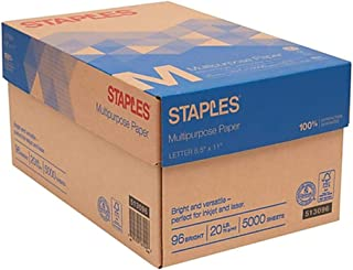 Staples Multipurpose Inkjet and Laser Paper, Bright White, 20 lb, 5000 Sheets/Case