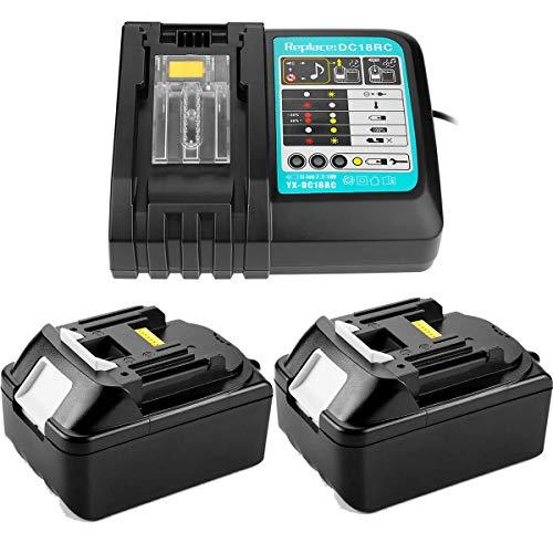 2 batterie di ricambio da 18 V e 5,0 Ah + caricatore da 3 A per Makita BL1840 BL1830 BL1850 LXT400 (ricambio per DC18RA DC18RC da 3 A e 10,8 V ~ 18 V)