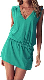 ERGEOB Kurzes Luftiges Damen Sommerkleid mit tiefem V-Ausschnitt - Rückenfreies Freizeitkleid Ideal als Bikini Cover Up, Strand, Urlaub, Pool, Meer, See, Sommernächte, Party.