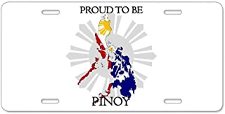 ETonmars Proud to Be Pinoy License Plate Cover Novelty Tag Aluminum Car Plate Gifts Decorative Car Tag Sign Metal Auto Tag Front License Plate 4 Holes (12 X 6)