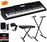 Casio WK-6600 Workstation Keyboard Bundle with Adjustable Stand, Bench, Sustain Pedal, Power Supply, Austin Bazaar Instructional DVD, and Polishing Cloth