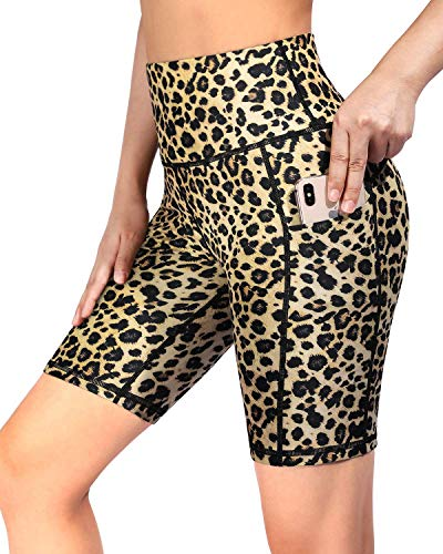 OMANTIC Leopard Print Yoga Workout Shorts for Women Tummy Control Running Compression Tights Exercise Pants (Leopard, XXL)