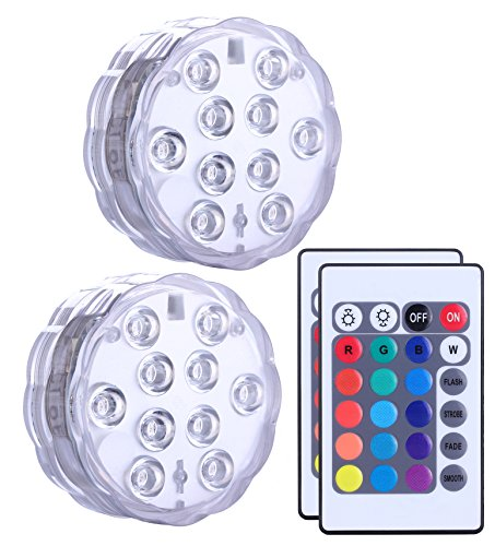 Qoolife Submersible LED Lights Remote Control Battery Powered, RGB Multi Color Changing Waterproof Light for Pool, Vase Base, Spa, Aquarium, Pond, Hot Tub, Decoration, Party, 2-Pack