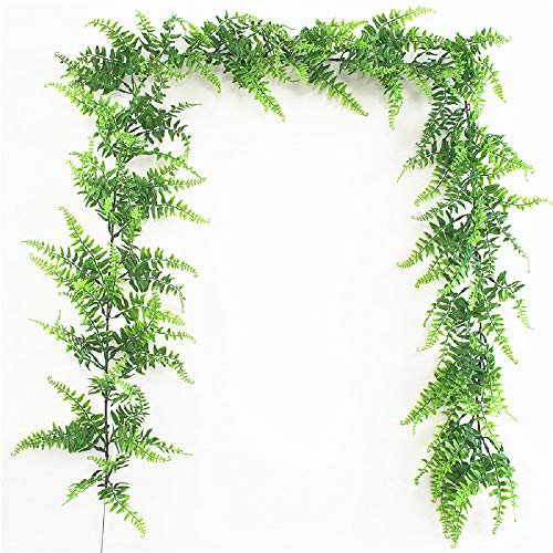 Fycooler Faux Boston Ferns Plant Artificial Vines Hanging Leaves Greenery Garland Artificial Plats 6.2 Feet in Length for Wedding Backdrop Arch Wall Decoration Garden Home Decor