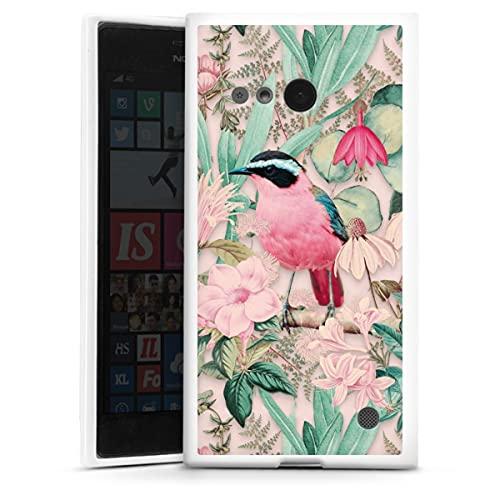 DeinDesign Silikon Hülle kompatibel mit Nokia Lumia 730 Hülle weiß Handyhülle Wasserfarbe Vogel Tiere